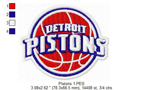 Detroit Pistons NBA Basketball Team Sports Embroidery Designs Download