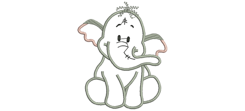 Heffalump Applique Cartoon Character Embroidery Designs Instant Download