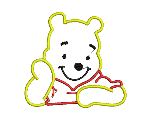 Winnie the Pooh Applique Cartoon Character Embroidery Designs Instant Download