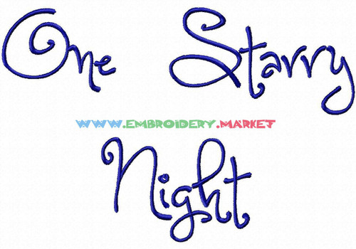 ONE STARRY NIGHT Machine Embroidery Designs Fonts Instant Download