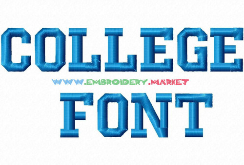 COLLEGE FONT  Machine Embroidery Designs Fonts Instant Download
