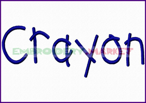 CRAYON Machine Embroidery Designs Fonts Instant Download