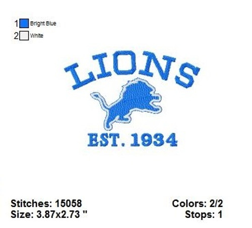 Detroit Lions Pro Football NFL Embroidery Designs