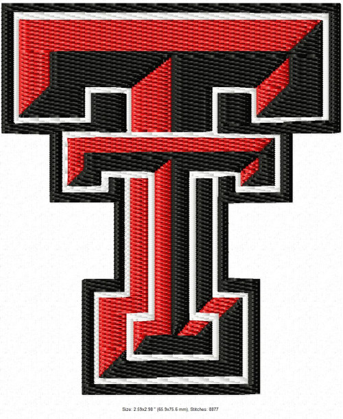 Texas Tech University logo Machine Embroidery Designs