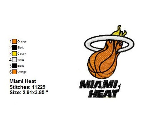 Miami Heat Basketball team logo Machine Embroidery Designs