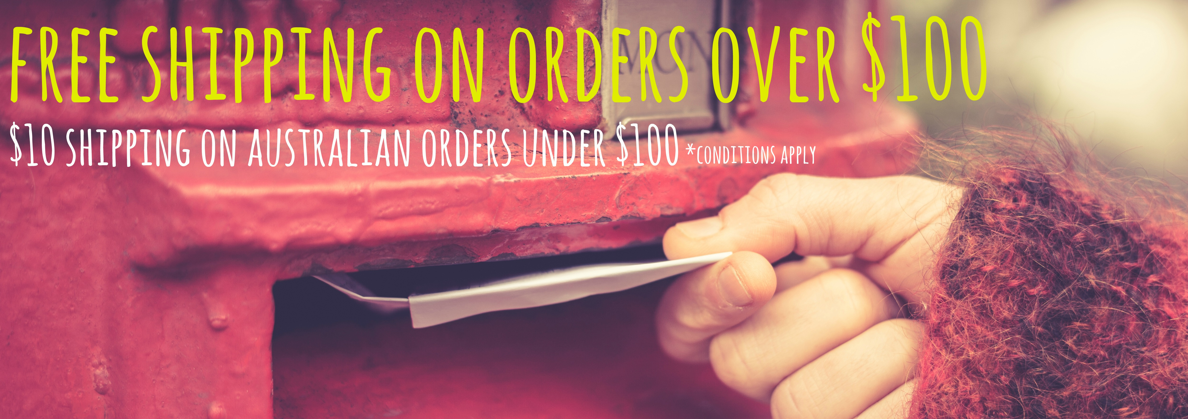 Free Postage on orders over $100