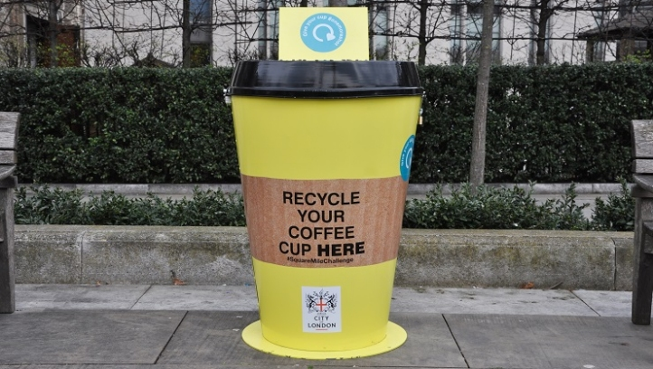 A recyclable Cup bin station in London