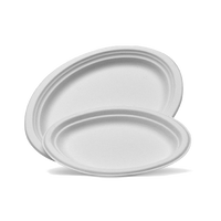 White Sugarcane Oval Plates (medium)