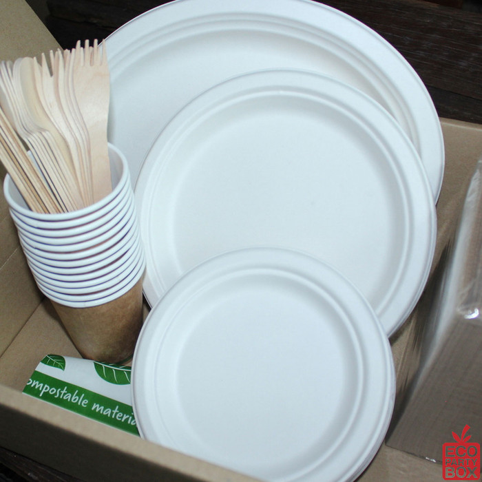 Our Sugarcane Party Boxes have all the tableware you need for a BBQ or party of 25!