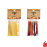 These packs of pure yellow and multicoloured candles feature a dozen hand dipped 100% beeswax birthday candles. They also include a small book of 20 matches.