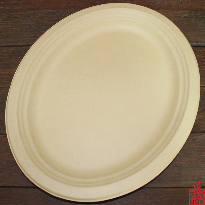 Our 318x258mm Natural Bamboo Pulp Oval Plates/Platter (large) are terrific for very large meals or for serving food for everyone. Unbleached and made from bamboo pulp. They have a beautiful natural colour and texture.