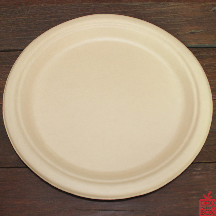 Our 260mm Round Natural Bamboo Pulp Plates (extra large) are ideal for serving extra large meals. Unbleached and made from bamboo pulp. They have a beautiful natural colour and texture.