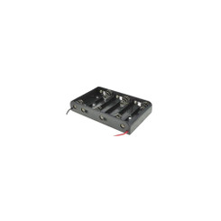 Plastic Battery Holder with Leads - AA, 6