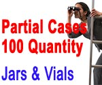 Partial Cases: 100 qty. Vials and Jars