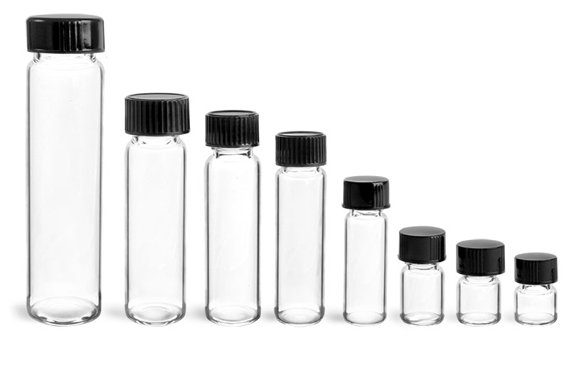 Clear Glass Vials with Black PolySeal or TriFoil Caps