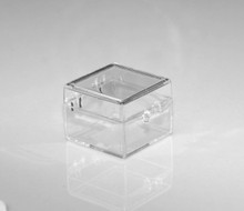 """Clear Plastic Box with Hinged Lid - 1"""" x 1"""" x 3/4"""""""