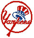 """New York Yankees Logo Crochet Graph Afghan Pattern.  All done in single crochet, changing colors as you go along.  Drop one color, pull in the next.  Medium ability.  Size works up to be approx. 50 x 70"""".  Graph is 72 stitches wide by 112 stitches high.  Then you crochet 22 rows (or more) around the outside edge including a border, if you would like it larger.  Complete instructions are included, a full size graph, and a Helpful Hints page. DOWNLOAD WILL BE EMAILED TO YOU WITHIN 20 MINUTES OF ORDERING.  OR, Email me if you want it Mailed to you.  Enjoy!"""