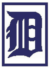 """Detroit Tigers Logo Crochet Graph Afghan Pattern.  All done in single crochet, changing colors as you go along.  Drop one color, pull in the next.  Medium ability.  Size works up to be approx. 50 x 70"""".  Graph is 100 stitches wide by 140 stitches high.  Then you crochet 22 rows (or more) around the outside edge including a border, if you would like it larger.  Complete instructions are included, a full size graph, and a Helpful Hints page. DOWNLOAD WILL BE EMAILED TO YOU WITHIN 20 MINUTES OF ORDER COMPLETION."""