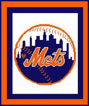 "New York Mets Logo Crochet Graph Afghan Pattern.  All done in single crochet, changing colors as you go along.  Drop one color, pull in the next.  Medium ability.  Size works up to be approx. 50 x 70"".  Graph is 100 stitches wide by 140 stitches high.  Then you crochet 22 rows (or more) around the outside edge including a border, if you would like it larger.  Complete instructions are included, a full size graph, and a Helpful Hints page. DOWNLOAD will be emailed to you within 20 minutes ORr can be MAILED if you mention it with order or separate email."