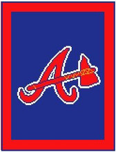 "Atlanta Braves Logo Crochet Graph Afghan Pattern.  All done in single crochet, changing colors as you go along.  Drop one color, pull in the next.  Medium ability.  Size works up to be approx. 50 x 70"".  Graph is 100 stitches wide by 140 stitches high.  Then you crochet 22 rows (or more) around the outside edge including a border, if you would like it larger.  Complete instructions are included, a full size graph, and a Helpful Hints page. DOWNLOAD WILL BE SENT TO YOU IN AN EMAIL WITHIN 20 MINUTES; JUST CLICK ""DOWNLOAD FILES"".  IF YOU'D RATHER HAVE IT MAILED TO YOU, EMAIL ME.  ENJOY!"