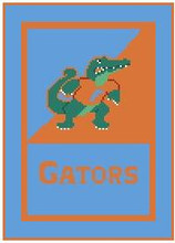 "Florida Gators University Logo Crochet Graph Afghan Pattern.  All done in single crochet, changing colors as you go along.  Drop one color, pull in the next.  Medium ability.  Size works up to be approx. 50 x 70"".  Graph is 72 stitches wide by 112 stitches high.  Then you crochet 22 rows (or more) around the outside edge including a border, if you would like it larger.  Complete instructions are included, a full size graph, and a Helpful Hints page. DOWNLOADABLE WITH PATTERN ORDER CONFIRMATION OR EMAIL ME IF YOU'D LIKE TO HAVE IT MAILED INSTEAD."