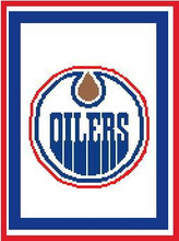 "Edmonton Oilers Logo Crochet Graph Afghan Pattern.  All done in single crochet, changing colors as you go along.  Drop one color, pull in the next.  Medium ability.  Edmonton Oilers Logo Crochet Graph Afghan Pattern.  All done in single crochet, changing colors as you go along.  Drop one color, pull in the next.  Medium ability.  Size works up to be approx. 50 x 70"".  Graph is 100 stitches wide by 140 stitches high.  Then you crochet 22 rows around the outside edge including a border, if you would like it larger.  Complete instructions are included, a full size graph, and a Helpful Hints page. DOWNLOADABLE WITH ORDER CONFIRMATION OR IF YOU'D RATHER HAVE IT MAILED TO YOU, EMAIL ME."