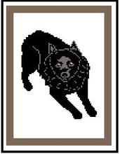 """Schipperke Crochet Afghan Graph Pattern.  All done in single crochet, changing colors as you go along.  Drop one color, pull in the next.  Medium ability.  Size works up to be approx. 40 x 60"""".  Graph is 72 stitches wide by 112 stitches high.  Then you crochet 22 rows (or more) around the outside edge including a border.  Complete instructions are included, a full size graph, and a Helpful Hints page."""
