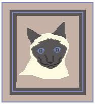 """Siamese Cat #2 Crochet Afghan Graph Pattern.  All done in single crochet, changing colors as you go along.  Drop one color, pull in the next.  Medium ability.  Size works up to be approx. 40 x 60"""".  Graph is 64 stitches wide by 104 stitches high.  Then you crochet 22 rows (or more) around the outside edge including a border.  Complete instructions are included, a full size graph, and a Helpful Hints page."""