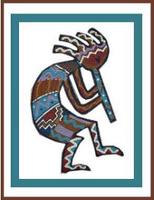 "Kokopelli Flute Player Crochet Afghan Graph Pattern.  All done in single crochet, changing colors as you go along.  Drop one color, pull in the next.  Medium ability.  Size works up to be approx. 50 x 70"".  Graph is 64 stitches wide by 104 stitches high.  Then you crochet 22 rows (or more) around the outside edge including a border.  Complete instructions are included, a full size graph, and a Helpful Hints page."