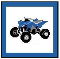 """Four Wheeler #2 Crochet Afghan Graph Pattern.  All done in single crochet, changing colors as you go along.  Drop one color, pull in the next.  Medium ability.  Size works up to be approx. 40 x 60"""".  Graph is 72 stitches wide by 112 stitches high.  Then you crochet 22 rows (or more) around the outside edge including a border.  Complete instructions are included, a full size graph, and a Helpful Hints page. DOWNLOADABLE WITH ORDER CONFIRMATION OR EMAIL ME IF YOU WOULD LIKE IT MAILED."""