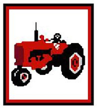 "Farmall Tractor Crochet Afghan Graph Pattern.  All done in single crochet, changing colors as you go along.  Drop one color, pull in the next.  Medium ability.  Size works up to be approx. 40 x 60"".  Graph is 64 stitches wide by 104 stitches high.  Then you crochet 22 rows (or more) around the outside edge including a border.  Complete instructions are included, a fll size graph, and a Helpful Hints page. DOWNLOADABLE WITH ORDER CONFIRMATION."