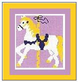 "Carousel Horse Crochet Afghan Graph Pattern.  All done in single crochet, changing colors as you go along.  Drop one color, pull in the next.  Medium ability.  Size works up to be approx. 40 x 60"".  Graph is 64 stitches wide by 104 stitches high.  Then you crochet 22 rows (or more) around the outside edge including a border.  Complete instructions are included, a full size graph, and a Helpful Hints page. DOWNLOAD WILL BE SENT TO YOU WITH ORDER CONFIRMATION."