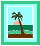 """Palm Tree Scene Crochet Afghan Graph Pattern.  All done in single crochet, changing colors as you go along.  Drop one color, pull in the next.  Medium ability.  Size works up to be approx. 40 x 60"""".  Graph is 64 stitches wide by 104 stitches high.  Then you crochet 22 rows (or more) around the outside edge including a border.  Complete instructions are included, a full size graph, and a Helpful Hints page."""