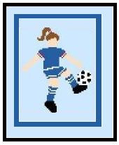 "Female Soccer Player Crochet Afghan Graph Pattern.  All done in single crochet, changing colors as you go along.  Drop one color, pull in the next.  Medium ability.  Size works up to be approx. 40 x 60"".  Graph is 64 stitches wide by 104 stitches high.  Then you crochet 22 rows (or more) around the outside edge including a border.  Complete instructions are included, a full size graph, and a Helpful Hints page."
