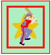"""Baseball Star Crochet Afghan Graph Pattern.  All done in single crochet, changing colors as you go along.  Drop one color, pull in the next.  Medium ability.  Size works up to be approx. 40 x 60"""".  Graph is 64 stitches wide by 104 stitches high.  Then you crochet 22 rows (or more) around the outside edge including a border.  Complete instructions are included, a full size graph, and a Helpful Hints page."""