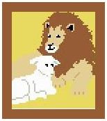 "Lion and Lamb Crochet Afghan Graph Pattern.  All done in single crochet, changing colors as you go along.  Drop one color, pull in the next.  Medium ability.  Size works up to be approx. 40 x 60"".  Graph is 64 stitches wide by 104 stitches high.  Then you crochet 22 rows (or more) around the outside edge including a border.  Complete instructions are included, a full size graph, and a Helpful Hints page."