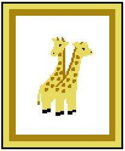 """Twin Giraffes Crochet Afghan Graph Pattern.  All done in single crochet, changing colors as you go along.  Drop one color, pull in the next.  Medium ability.  Size works up to be approx. 40 x 60"""".  Graph is 64 stitches wide by 104 stitches high.  Then you crochet 22 rows (or more) around the outside edge including a border.  Complete instructions are included, a full size graph, and a Helpful Hints page."""