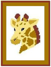 "Giraffe Crochet Afghan Graph Pattern.  All done in single crochet, changing colors as you go along.  Drop one color, pull in the next.  Medium ability.  Size works up to be approx. 40 x 60"".  Graph is 64 stitches wide by 104 stitches high.  Then you crochet 22 rows (or more) around the outside edge including a border.  Complete instructions are included, a full size graph, and a Helpful Hints page."
