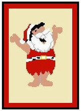 "Fred Flintstone as Santa Crochet Afghan Graph Pattern.  All done in single crochet, changing colors as you go along.  Drop one color, pull in the next.  Medium ability.  Size works up to be approx. 50 x 70"".  Graph is 80 stitches wide by 120 stitches high.  Then you crochet 22 rows (or more) around the outside edge including a border.  Complete instructions are included, a full size graph, and a Helpful Hints page."