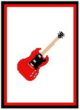 """Guitar,Gibson SG Crochet Afghan Graph Pattern.  All done in single crochet, changing colors as you go along.  Drop one color, pull in the next.  Medium ability.  Size works up to be approx. 40 x 60"""".  Graph is 64 stitches wide by 104 stitches high.  Then you crochet 22 rows (or more) around the outside edge including a border.  Complete instructions are included, a full size graph, and a Helpful Hints page."""