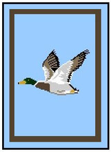 """Mallard in Flight Crochet Afghan Graph Pattern.  All done in single crochet, changing colors as you go along.  Drop one color, pull in the next.  Medium ability.  Size works up to be approx. 50 x 70"""".  Graph is 100 stitches wide by 140 stitches high.  Then you crochet 22 rows (or more) around the outside edge including a border.  Complete instructions are included, a full size graph, and a Helpful Hints page. YOUR ORDER CONFIRMATION WILL BE EMAILED TO YOU WITH CLICKABLE DOWNLOADS OF PATTERN. ENJOY!"""