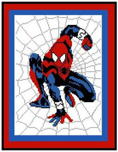 """Spiderman Crochet Afghan Graph Pattern.  All done in single crochet, changing colors as you go along.  Drop one color, pull in the next.  Medium ability.  Size works up to be approx. 40 x 60"""".  Graph is 100 stitches wide by 140 stitches high.  Then you crochet 22 rows (or more) around the outside edge including a border.  Complete instructions are included, a full size graph, and a Helpful Hints page.   The DOWNLOAD WILL COME TO YOU IN THE CONFIRMATION within 20 minutes of completing the order.  Just click on """"download files"""".  Enjoy!"""