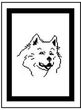 """Samoyed Face Crochet Afghan Graph Pattern.  All done in single crochet, changing colors as you go along.  Drop one color, pull in the next.  Medium ability.  Size works up to be approx. 40 x 60"""".  Graph is 64 stitches wide by 104 stitches high.  Then you crochet 22 rows (or more) around the outside edge including a border.  Complete instructions are included, a full size graph, and a Helpful Hints page."""