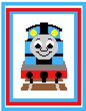 """Thomas the Tank Engine Crochet Afghan Graph Pattern.  All done in single crochet, changing colors as you go along.  Drop one color, pull in the next.  Medium ability.  Size works up to be approx. 40 x 60"""".  Graph is 64 stitches wide by 104 stitches high.  Then you crochet 22 rows (or more) around the outside edge including a border.  Complete instructions are included, a full size graph, and a Helpful Hints page. DOWNLOAD WILL BE SENT TO YOU IN AN EMAIL CONFIRMING THE ORDER.  JUST CLICK ON """"DOWNLOAD FILES"""".  ENJOY!"""