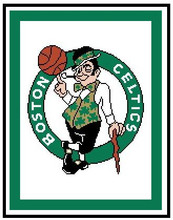 "Boston Celtics Crochet Afghan Graph Pattern.  All done in single crochet, changing colors as you go along.  Drop one color, pull in the next.  Medium ability.  Size works up to be approx. 50 x 70"".  Graph is 116 stitches wide by 154 stitches high.  Then you crochet 22 rows (or more) around the outside edge including a border.  Complete instructions are included, a full size graph, and a Helpful Hints page. DOWNLOADABLE."