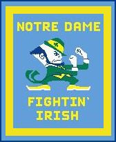 "Notre Dame Fighting Irish Crochet Graph Afghan Pattern.  All done in single crochet, changing colors as you go along.  Drop one color, pull in the next.  Medium ability.  Size works up to be approx. 60 x 80"".  Graph is 126 stitches wide by 156 stitches high.  Then you crochet 22 rows (or more) around the outside edge including a border, if you would like it larger.  Complete instructions are included, a full size graph, and a Helpful Hints page. DOWNLOAD WILL BE EMAILED TO YOU WITH CONFIRMATION.  JUST CLICK ON ""DOWNLOAD FILES"". OR email me if you'd rather have it mailed. ENJOY!"