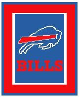 "Buffalo Bills LOGO Crochet Graph Afghan Pattern.  All done in single crochet, changing colors as you go along.  Drop one color, pull in the next.  Medium ability.  Size works up to be approx. 50 x 70"".  Graph is 100 stitches wide by 140 stitches high.  Then you crochet 22 rows around the outside edge including a border, if you would like it larger.  Complete instructions are included, a full size graph, and a Helpful Hints page. DOWNLOAD WILL BE SENT TO YOU IN THE CONFIRMATION EMAIL.  Just click on ""Download Files"" to print your download.  Enjoy!"