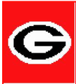 """Georgia Bulldogs Logo Crochet Graph Afghan Pattern.  All done in single crochet, changing colors as you go along.  Drop one color, pull in the next.  Medium ability.  Size works up to be approx. 40 x 60""""; easily enlarged.  Graph is 64 stitches wide by 104 stitches high.  Then you crochet 22 rows (or more) around the outside edge including a border, more if you would like it larger.  Complete instructions are included, a full size graph, and a Helpful Hints page.  DOWNLOADABLE 20 MINUTES AFTER PAYMENT IS COMPLETED (Just Click on """"Download Files"""" under the pattern name in your confirmation) OR EMAIL ME IF YOU WANT IT MAILED."""