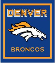 "Denver Broncos Crochet Graph Afghan Pattern.  All done in single crochet, changing colors as you go along.  Drop one color, pull in the next.  Medium ability.  Size works up to be approx. 50 x 70"".  Graph is 129 stitches wide by 169 stitches high.  Then you crochet 22 rows around the outside edge including a border, if you would like it larger.  Complete instructions are included, a full size graph, and a Helpful Hints page. DOWNLOAD will be emailed to you within the Order Confirmation in 20 minutes.  Just click on ""Download Files"".  If you'd rather have it mailed to you, email me.  Enjoy!"
