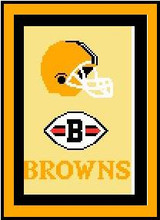 """Cleveland Browns Crochet Graph Afghan Pattern.  All done in single crochet, changing colors as you go along.  Drop one color, pull in the next.  Medium ability.  Size works up to be approx. 50 x 70"""".  Graph is 72 stitches wide by 112 stitches high.  Then you crochet 22 rows around the outside edge including a border, if you would like it larger.  Complete instructions are included, a full size graph, and a Helpful Hints page and will be emailed to you as a Download within 20 minutes of placing order. Enjoy!"""